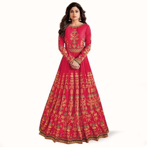 Unique Red Colored Partywear Embroidered Mulberry Silk Anarkali Suit