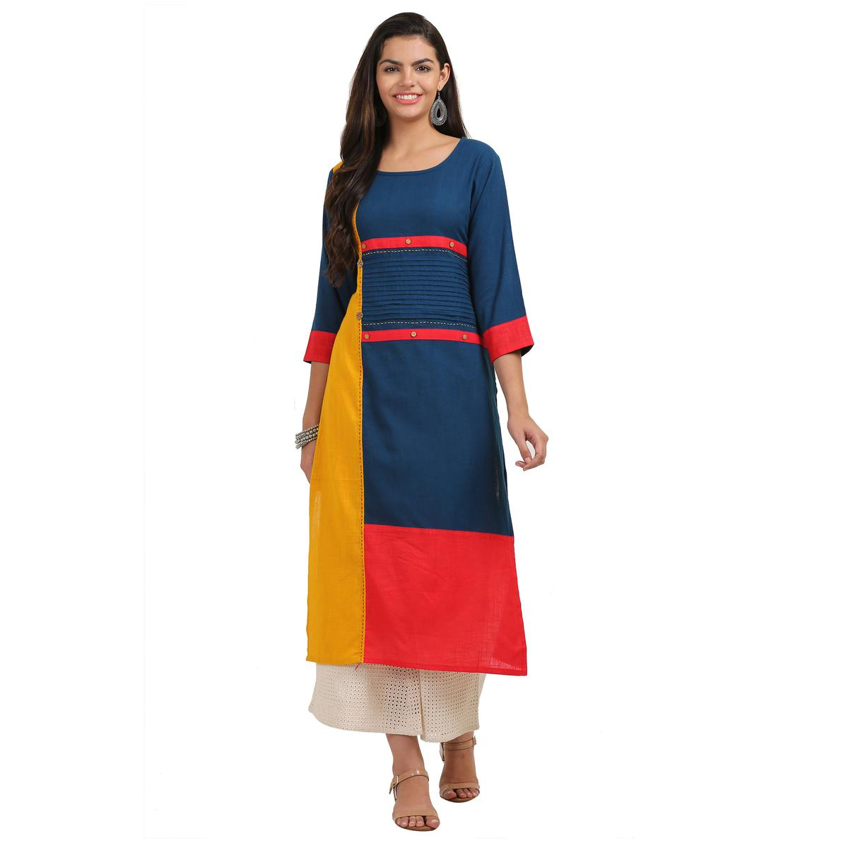 Flattering Navy Blue Colored Casual Wear Cotton Kurti