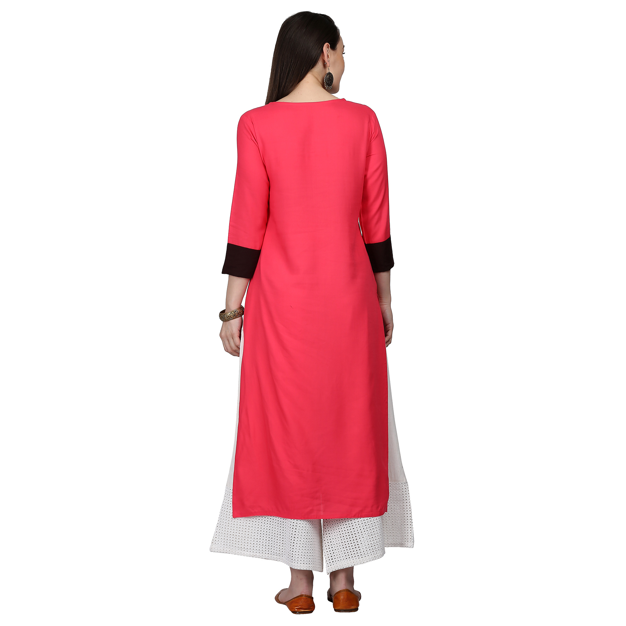 Excellent Off White-Pink Colored Casual Embroidered Cotton Kurti