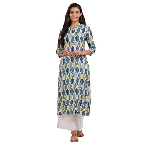Preferable Blue Colored Casual Printed Rayon Kurti