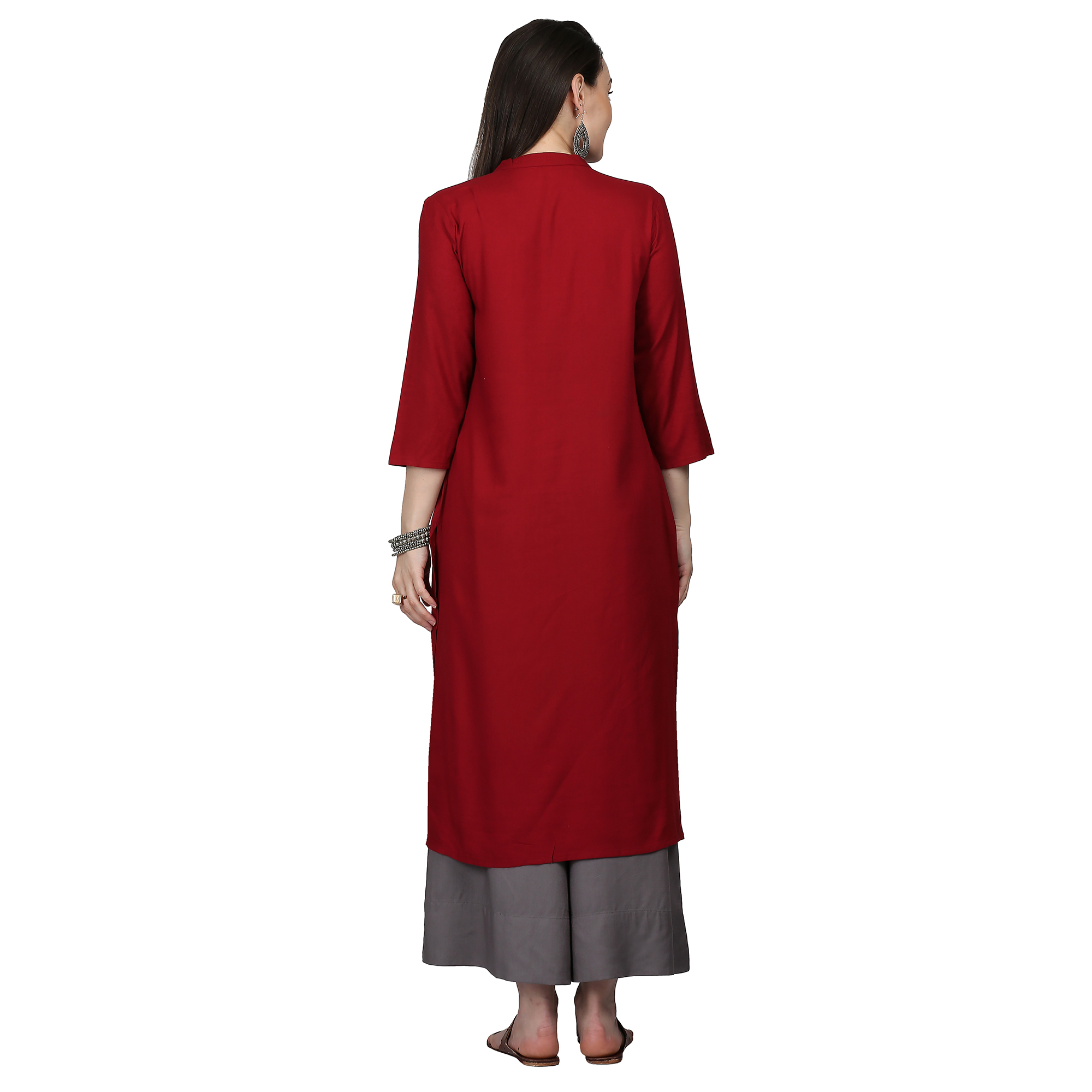 Marvellous Maroon Colored Casual Embroidered Rayon Kurti