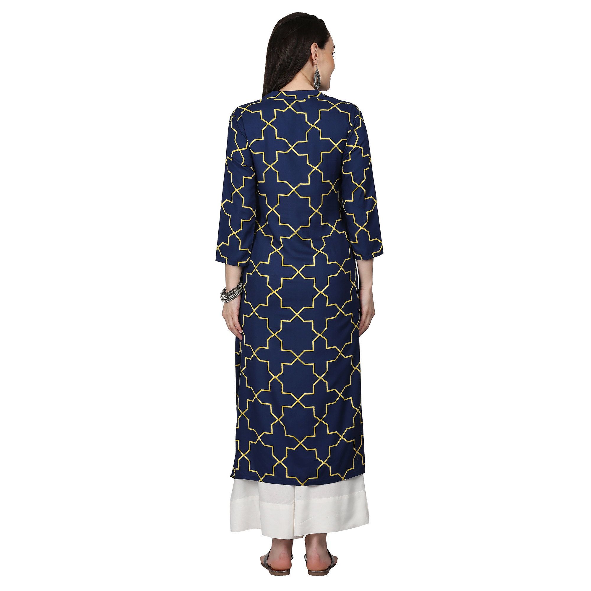 Flaunt Navy Blue Colored Casual Printed Rayon Kurti