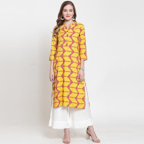 Sensational Yellow-Pink Colored Casual Printed Rayon Kurti