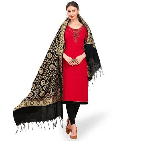 Adorable Red Colored Festive Wear Embroidered Cotton Dress Material With Banarasi Silk Dupatta