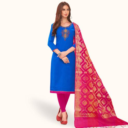 Glorious Blue Colored Festive Wear Embroidered Cotton Dress Material With Banarasi Silk Dupatta