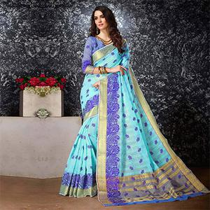 Firozi - Blue Floral Embroidered Work Cotton Silk Saree