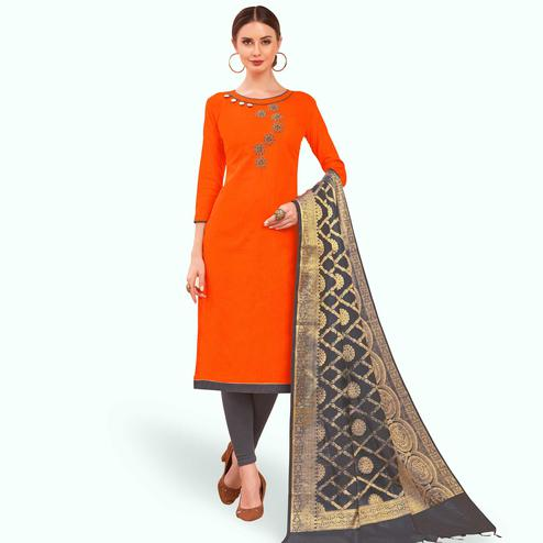 Arresting Orange Colored Festive Wear Embroidered Cotton Dress Material With Banarasi Silk Dupatta