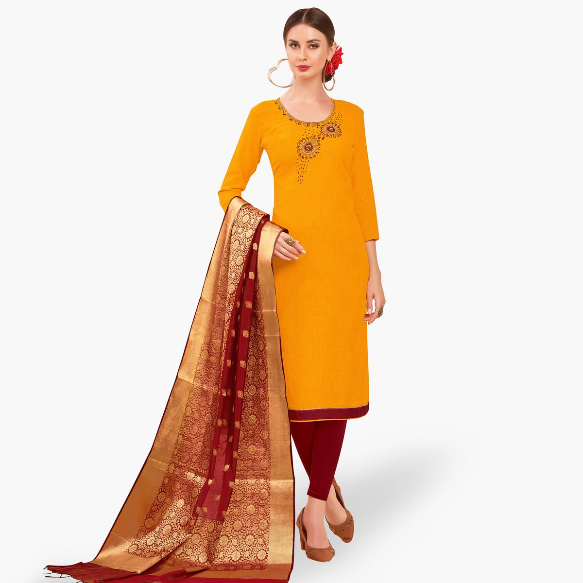 Trendy Yellow Colored Festive Wear Embroidered Cotton Dress Material With Banarasi Silk Dupatta