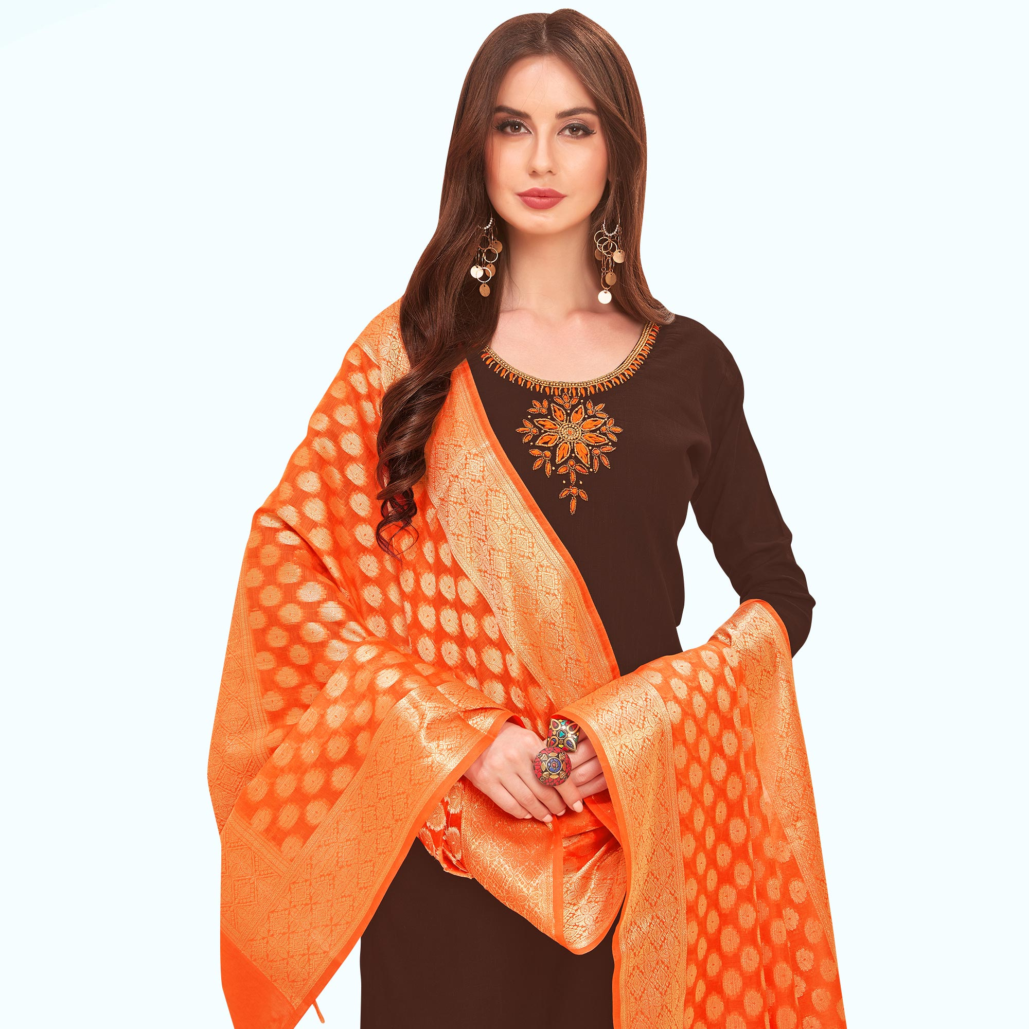 Pleasant Brown Colored Festive Wear Embroidered Cotton Dress Material With Banarasi Silk Dupatta