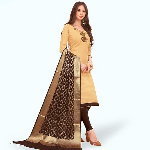 Glowing Beige Colored Festive Wear Embroidered Cotton Dress Material With Banarasi Silk Dupatta