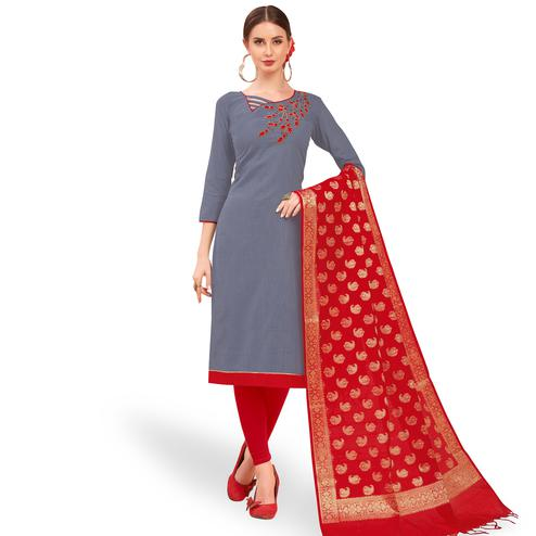 Mesmeric Gray Colored Festive Wear Embroidered Cotton Dress Material With Banarasi Silk Dupatta
