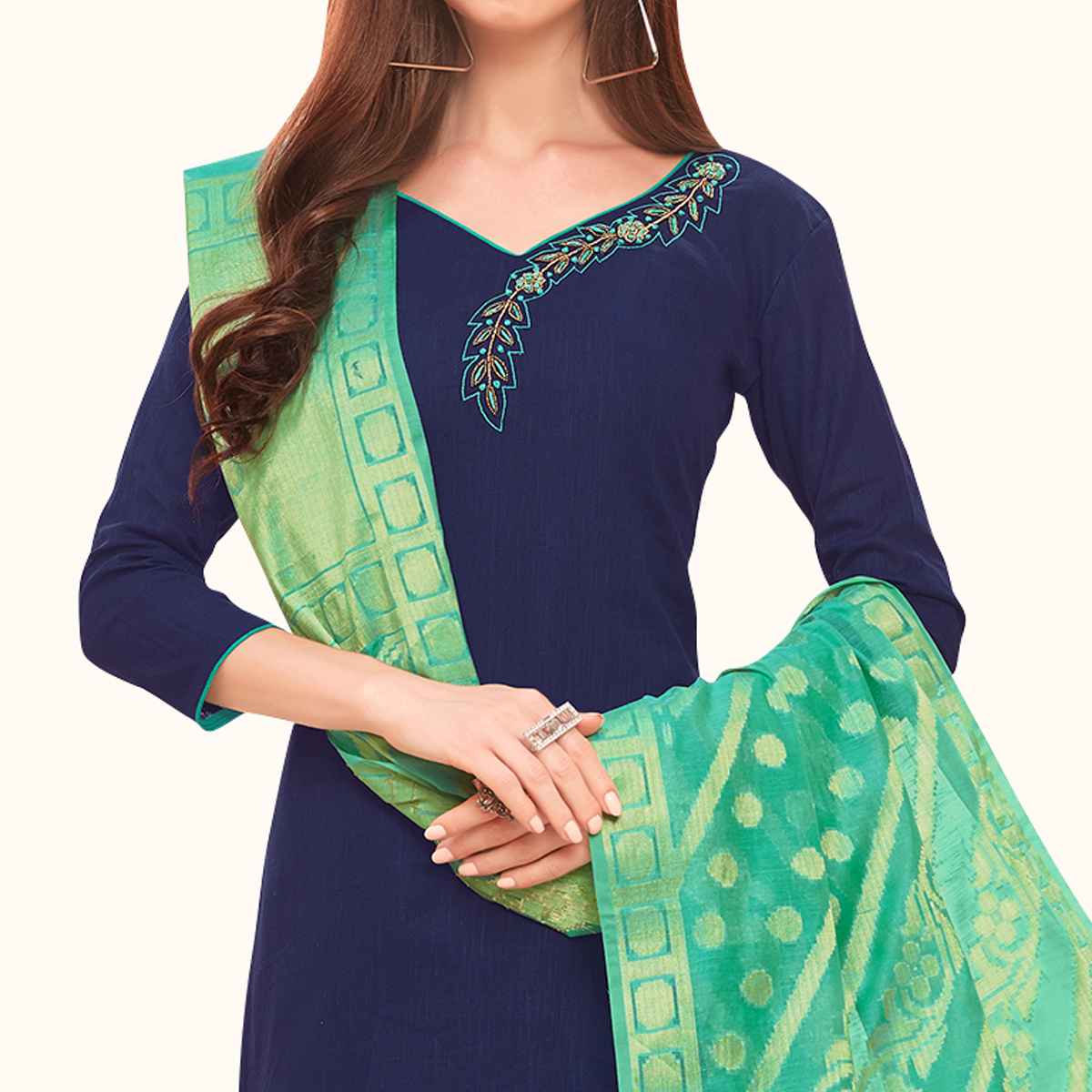 Classy Navy Blue Colored Festive Wear Embroidered Cotton Dress Material With Banarasi Silk Dupatta