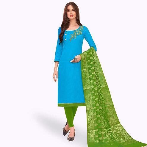 Lovely Sky Blue Colored Festive Wear Embroidered Cotton Dress Material With Banarasi Silk Dupatta