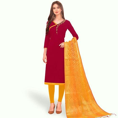 Ideal Magenta Pink Colored Festive Wear Embroidered Cotton Dress Material With Banarasi Silk Dupatta