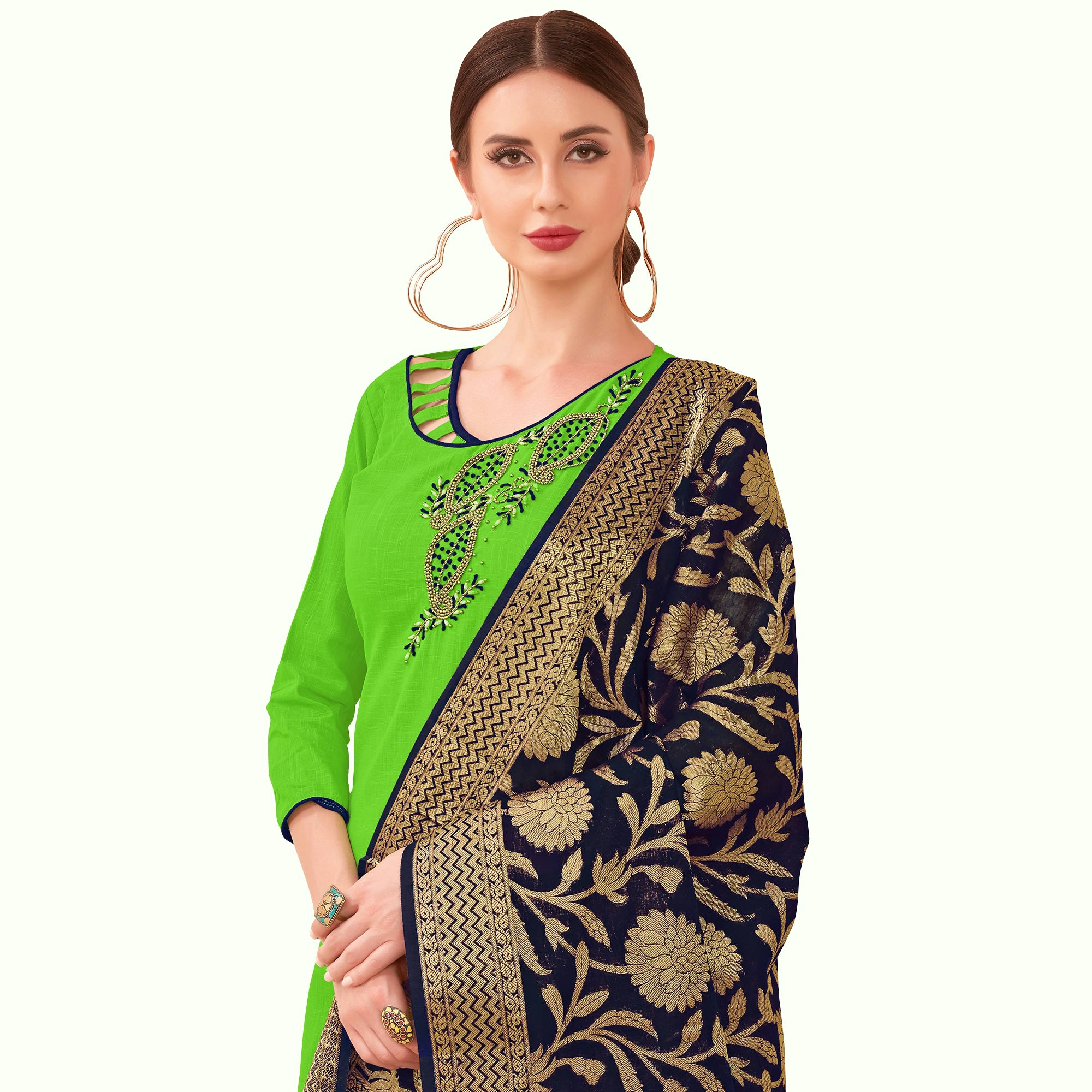 Ravishing Green Colored Festive Wear Embroidered Cotton Dress Material With Banarasi Silk Dupatta