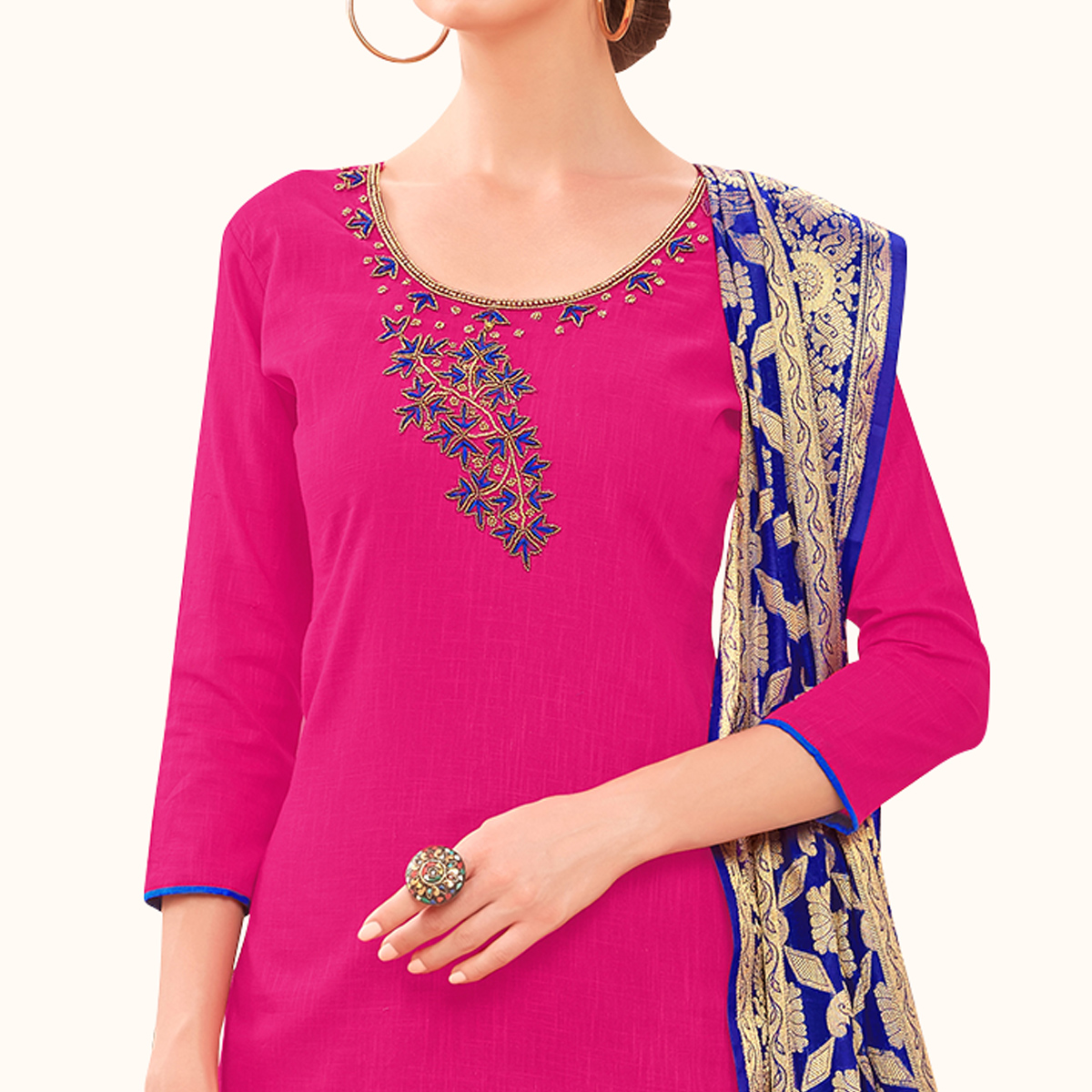 Majesty Pink Colored Festive Wear Embroidered Cotton Dress Material With Banarasi Silk Dupatta