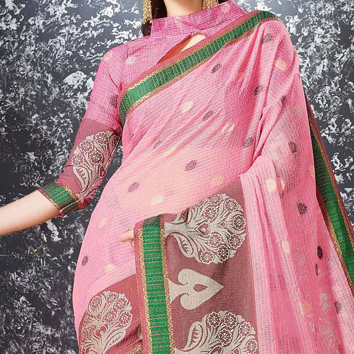 Light Pink Festive Wear Cotton Silk Saree