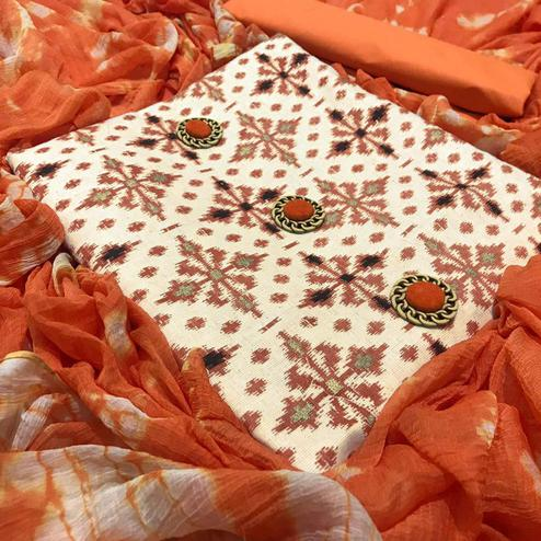 Flamboyant Off White-Orange Colored Casual Printed Cotton Dress Material