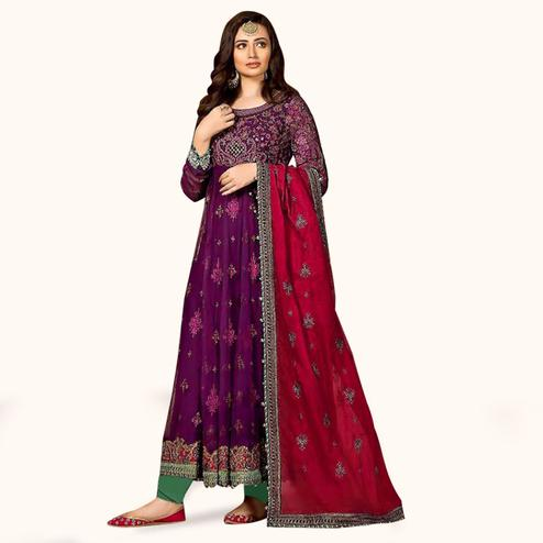 Adorning Purple Colored Partywear Embroidered Georgette-Net Dress Material