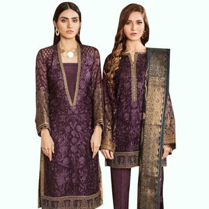 Capricious Purple Colored Partywear Embroidered Georgette-Net Dress Material