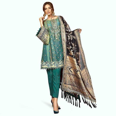 Entrancing Teal Green Colored Partywear Embroidered Georgette-Net Dress Material