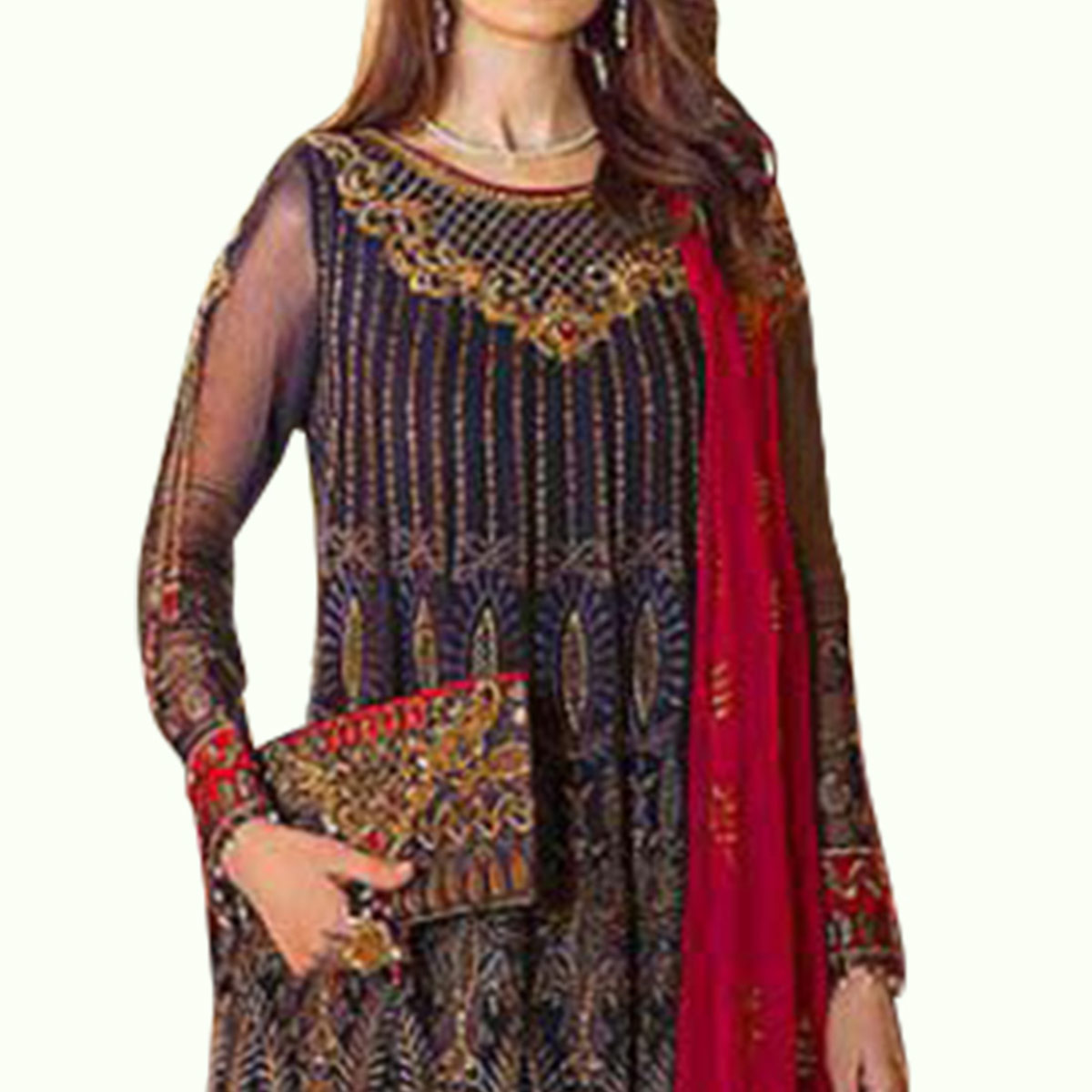 Prominent Navy Blue Colored Partywear Embroidered Georgette-Net Dress Material