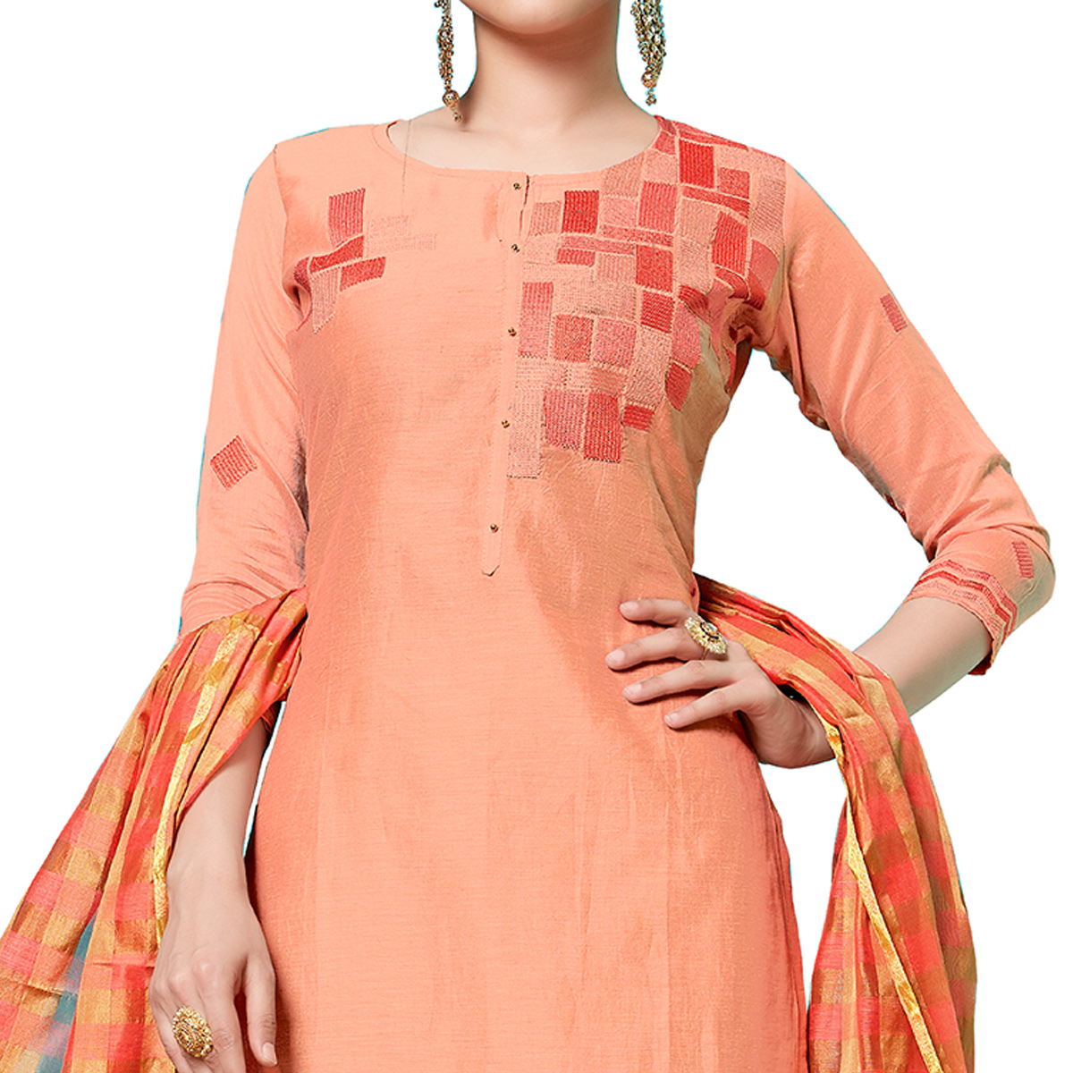 Pleasant Peach Colored Partywear Embroidered Cotton Dress Material