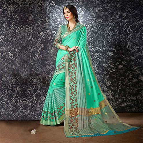 Green Festive Wear Cotton Silk Saree