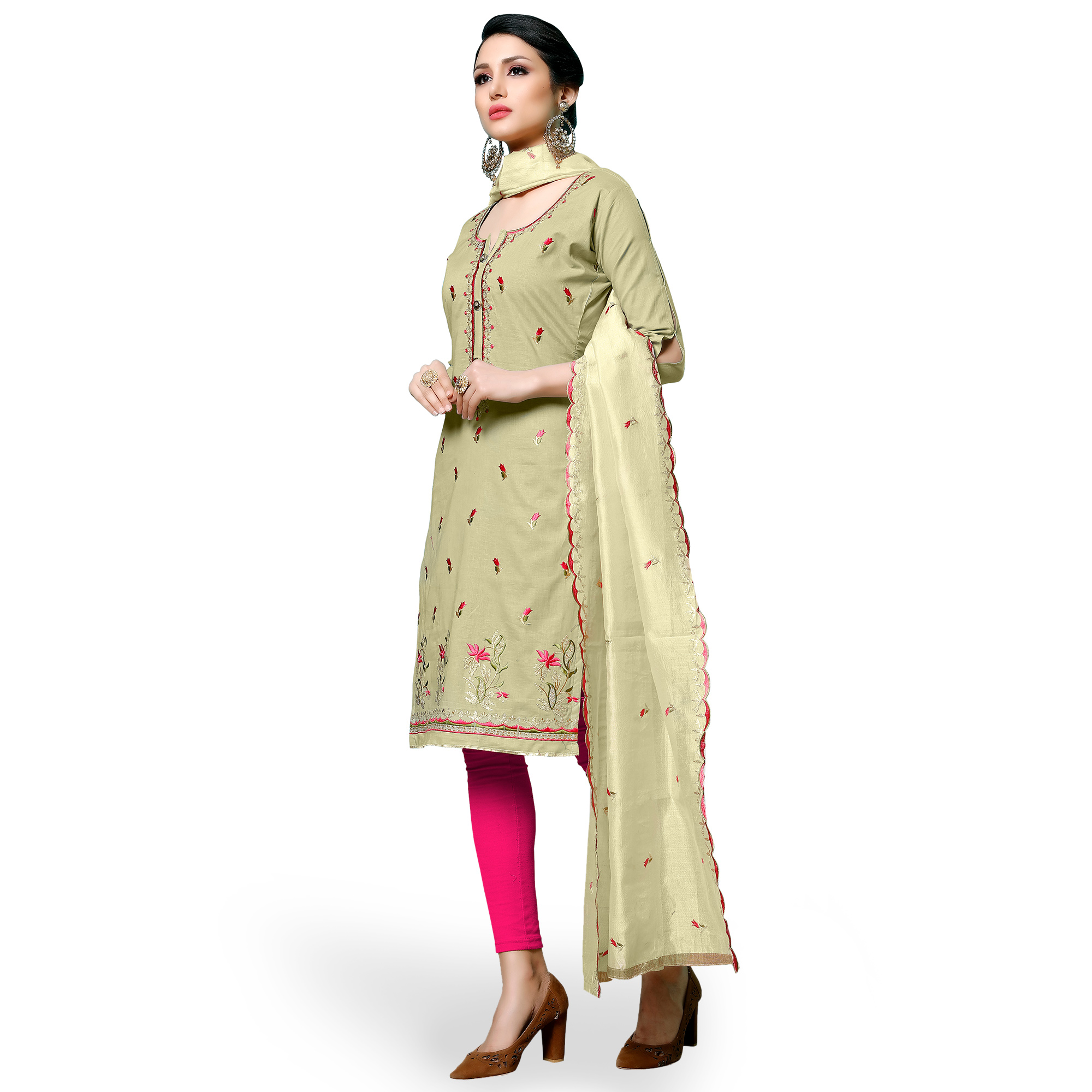 Opulent Pastel Green Colored Partywear Embroidered Cotton Dress Material