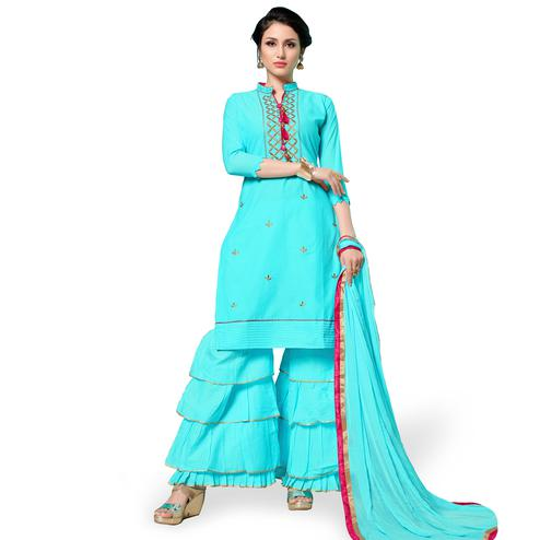Energetic Sky Blue Colored Partywear Embroidered Cotton Dress Material