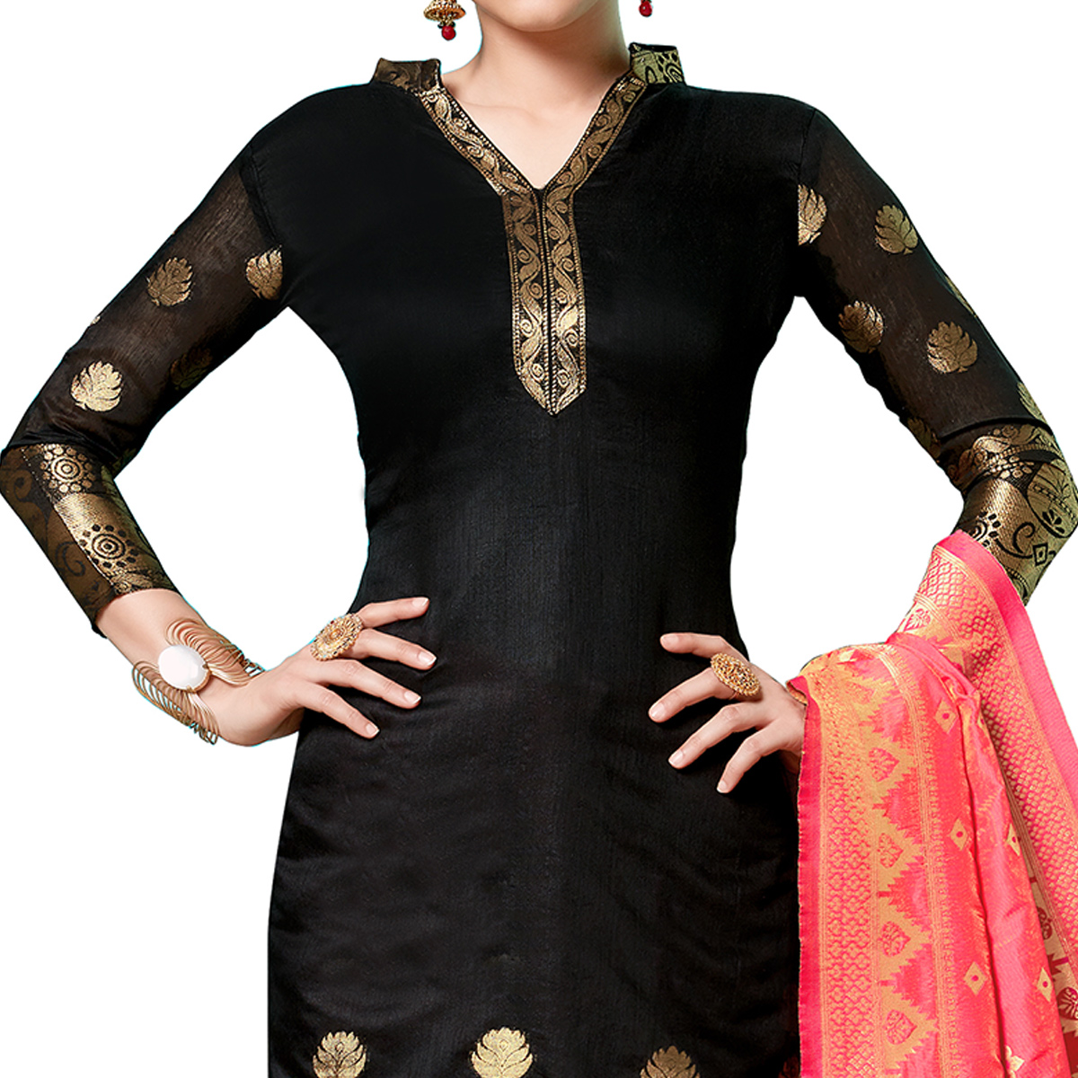 Lovely Black Colored Partywear Woven Cotton Dress Material