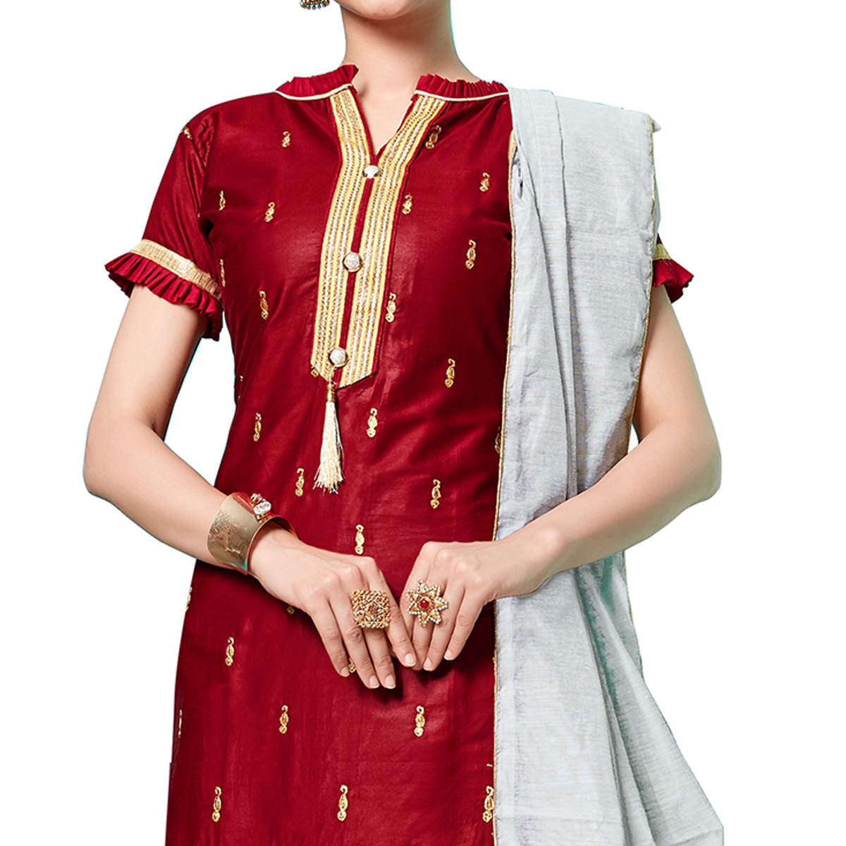 Glorious Red Colored Partywear Embroidered Cotton Dress Material