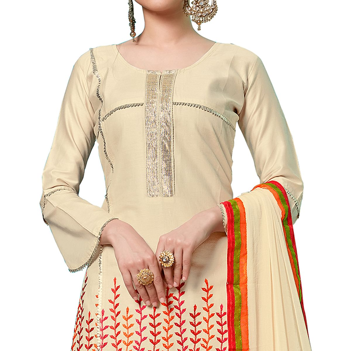 Attractive Cream Colored Partywear Embroidered Cotton Dress Material