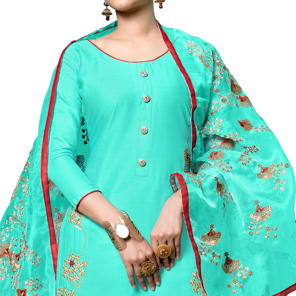 Graceful Aqua Blue Colored Partywear Embroidered Cotton Dress Material