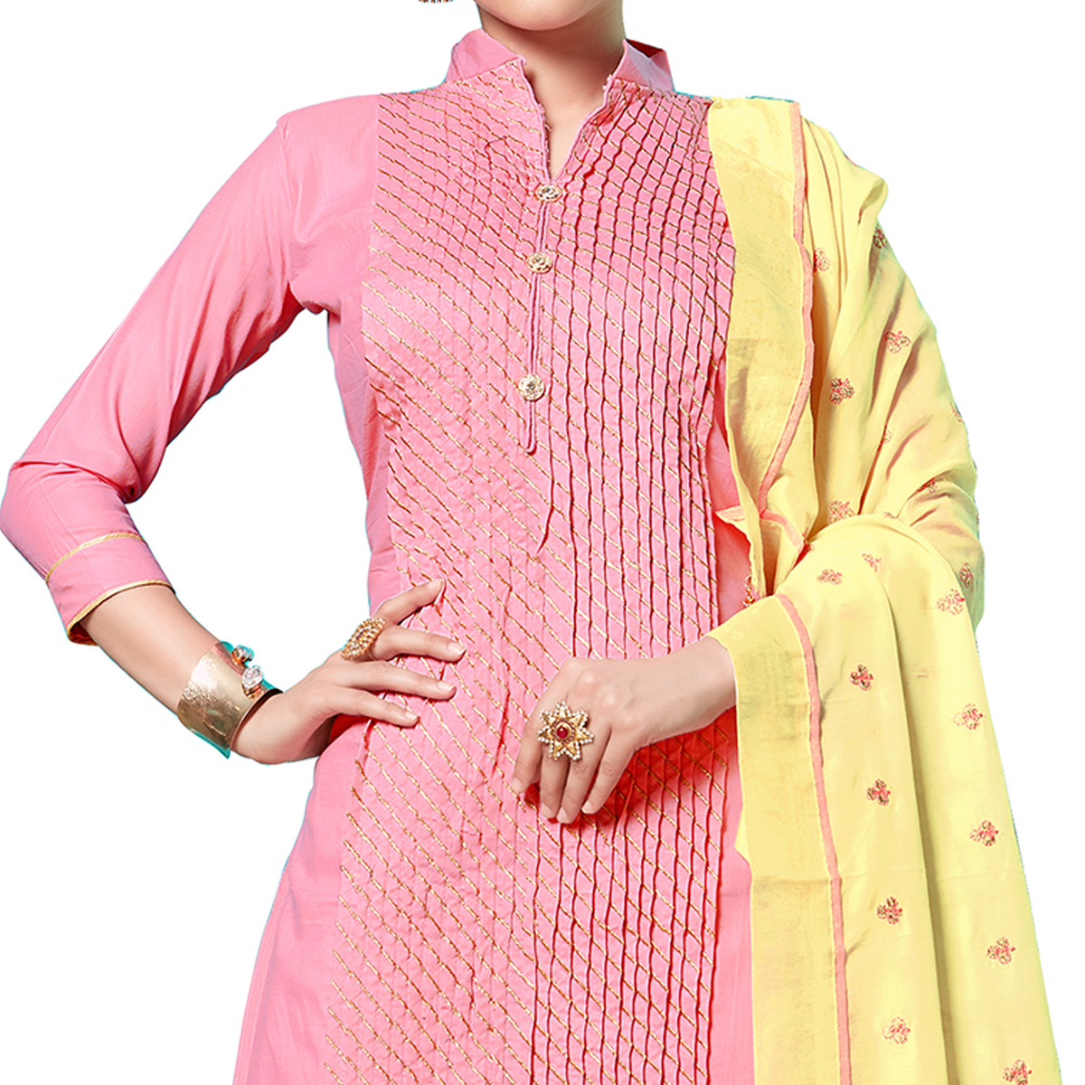Jazzy Pink Colored Partywear Embroidered Cotton Dress Material