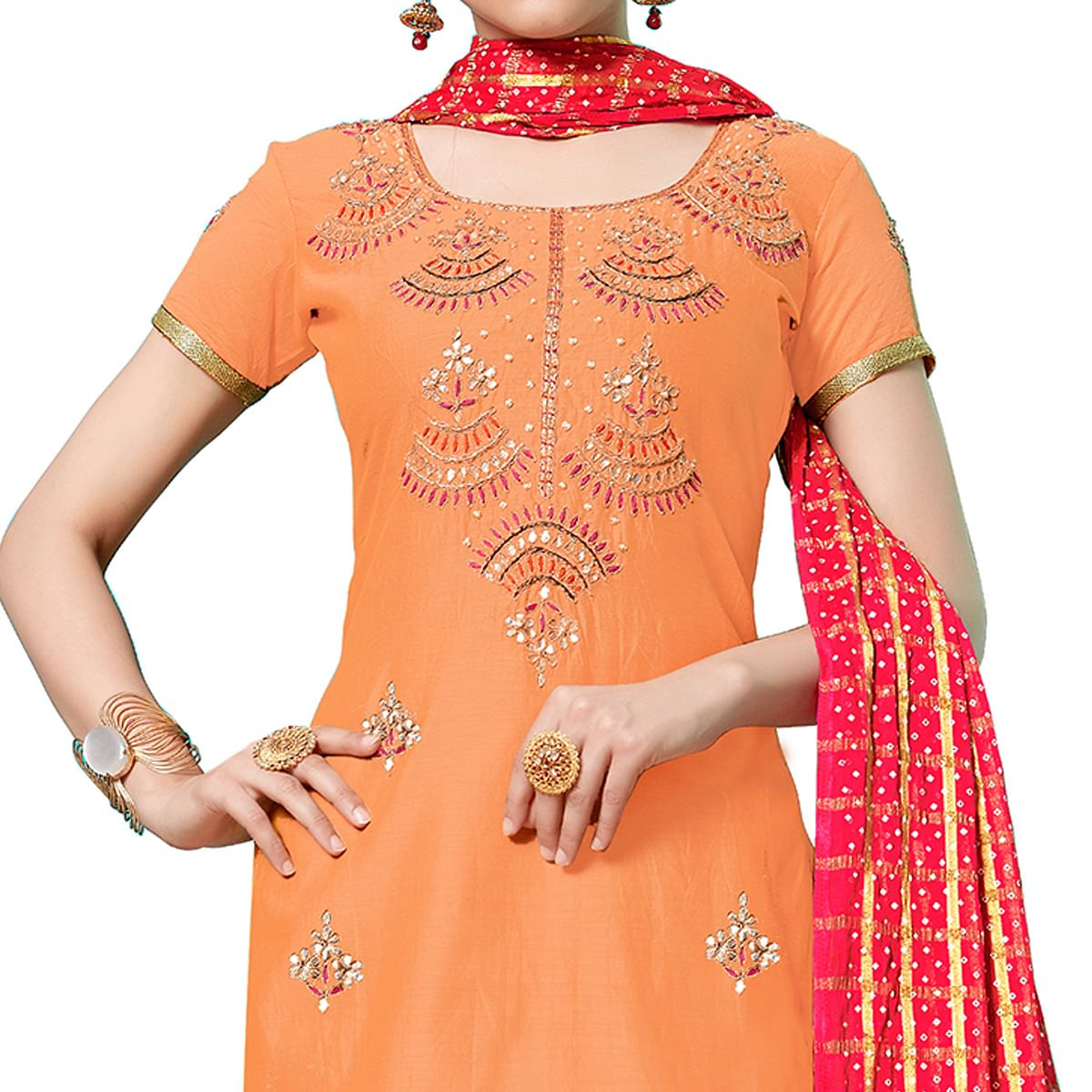 Elegant Orange Colored Partywear Embroidered Cotton Dress Material