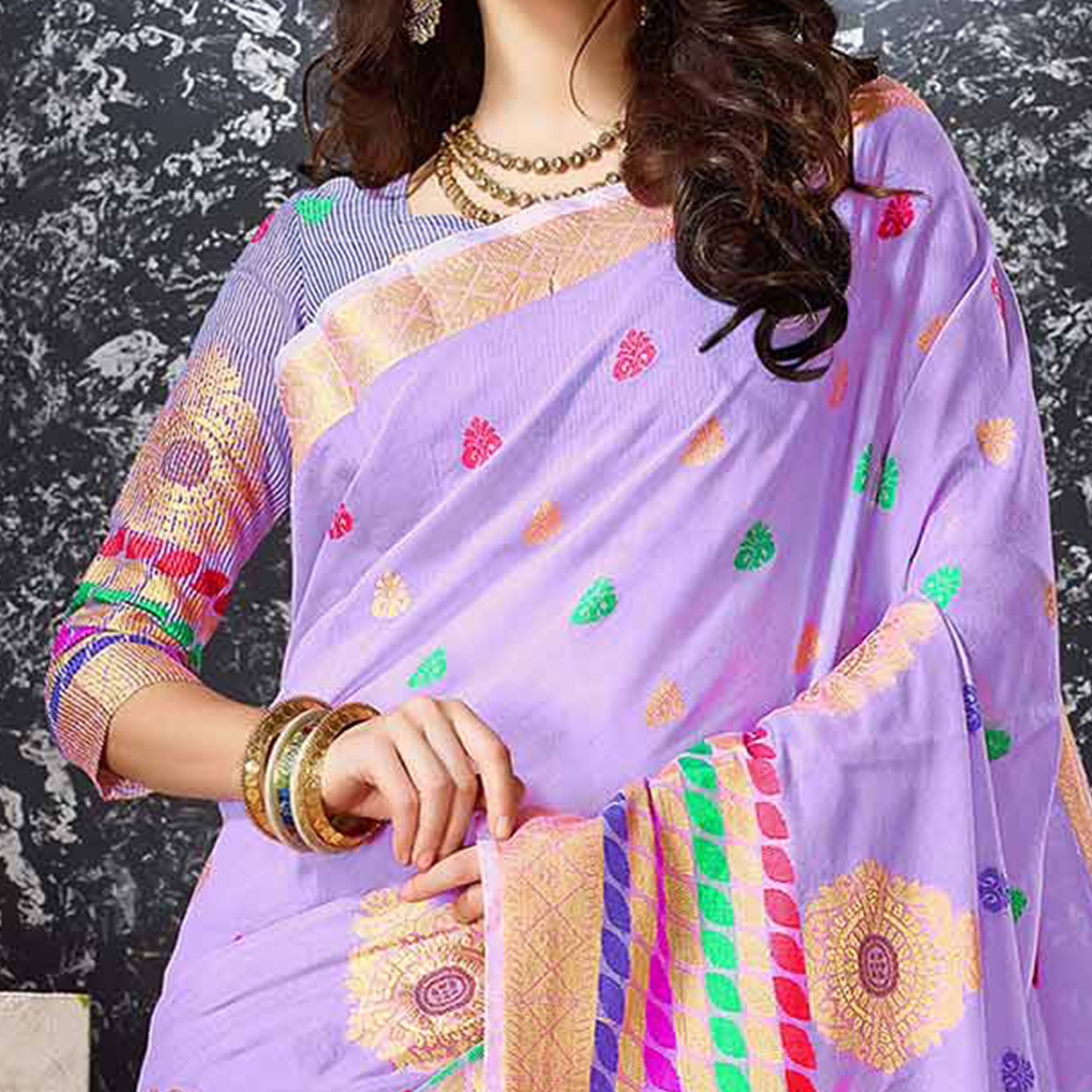 Purple Festive Wear Cotton Silk Saree