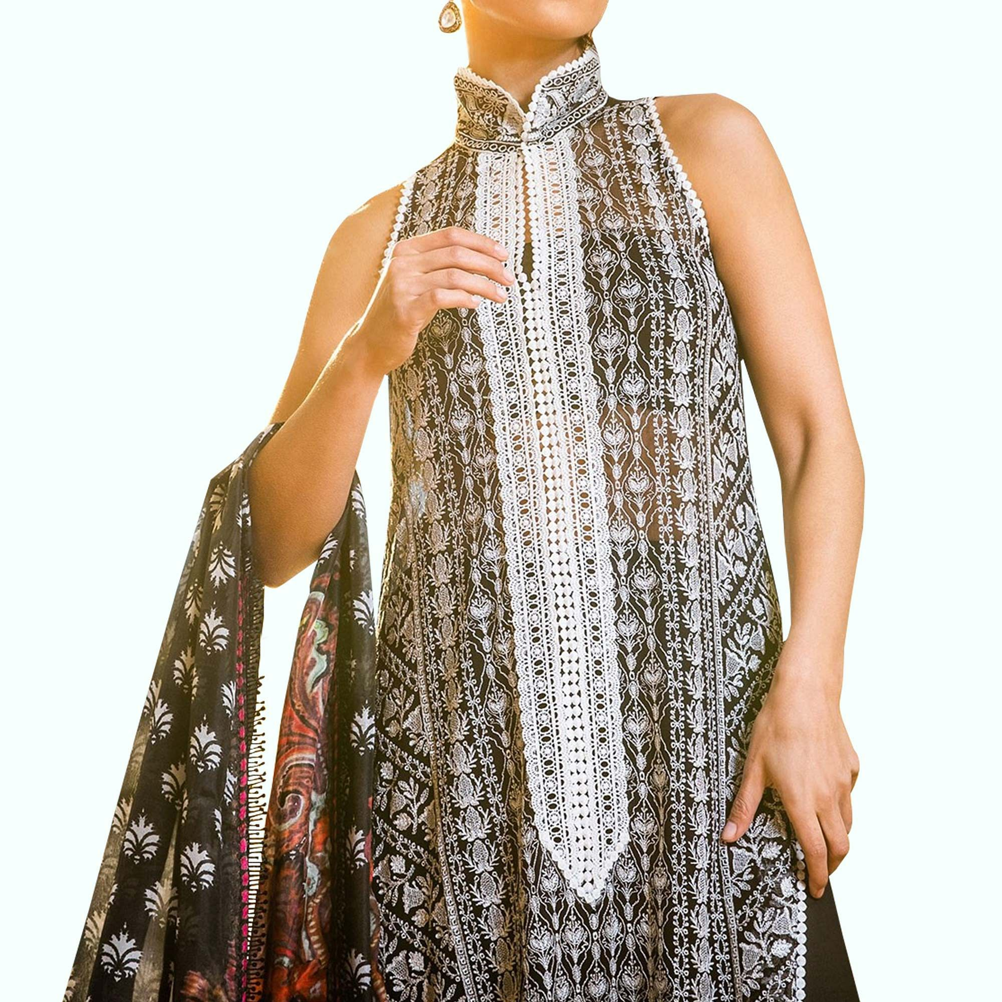 Hypnotic Black-White Colored Partywear Embroidered Net Suit