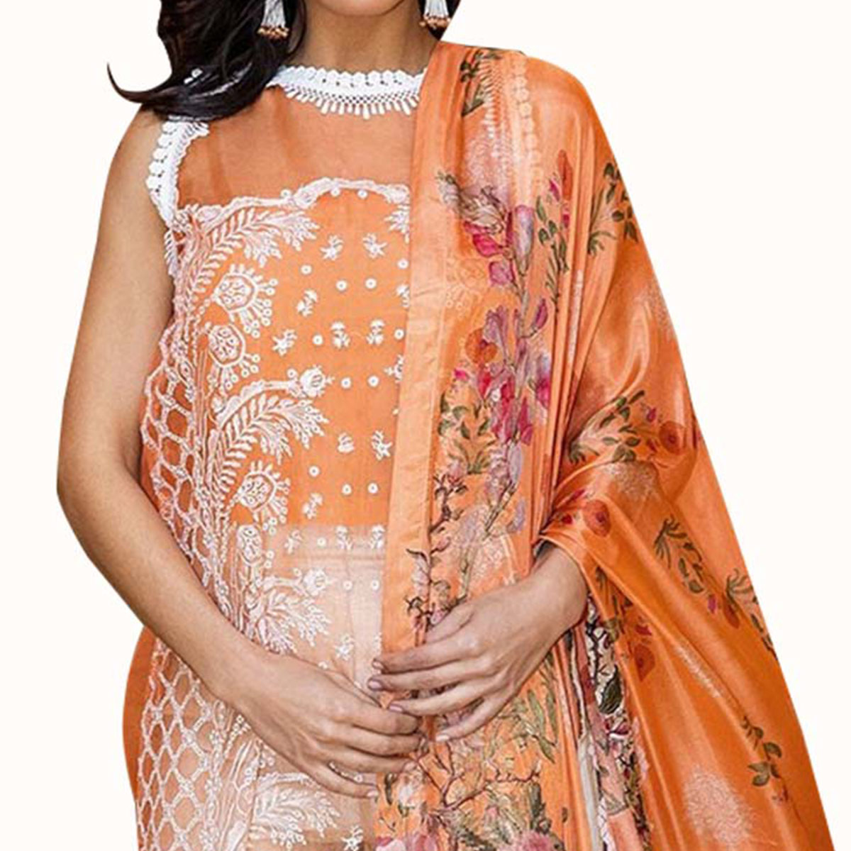 Flattering Orange Colored Partywear Embroidered Organza Suit
