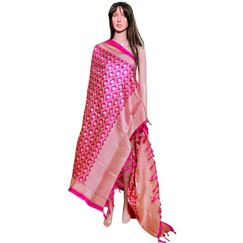 Blooming Pink Colored Festive Wear Printed Khadi Silk Dupatta