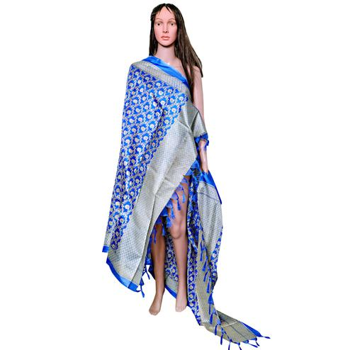 Charming Blue Colored Festive Wear Printed Khadi Silk Dupatta