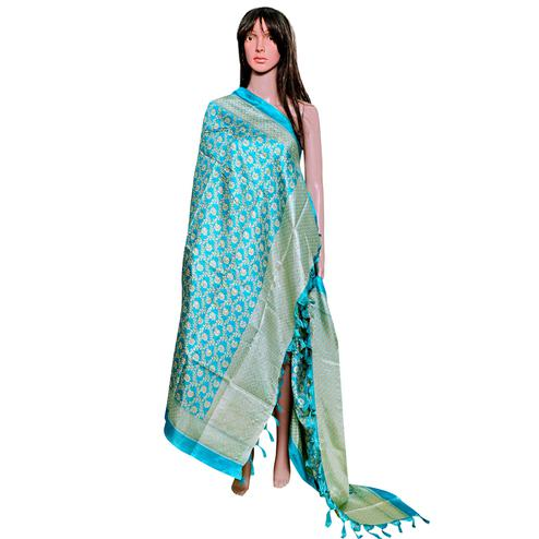 Jazzy Aqua Blue Colored Festive Wear Printed Khadi Silk Dupatta