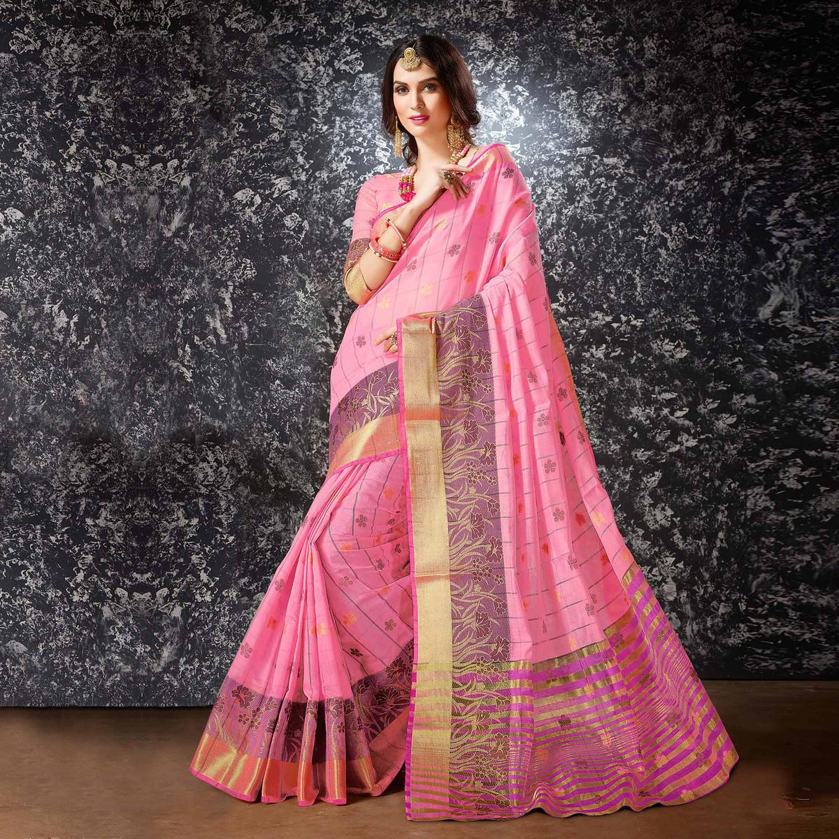Pink Floral Work Festive Wear Cotton Silk Saree