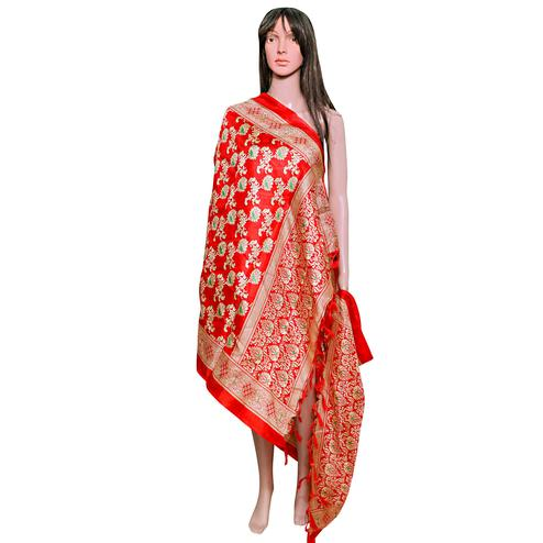 Fantastic Red Colored Festive Wear Printed Khadi Silk Dupatta