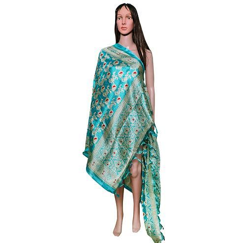 Amazing Rama Blue Colored Festive Wear Printed Khadi Silk Dupatta