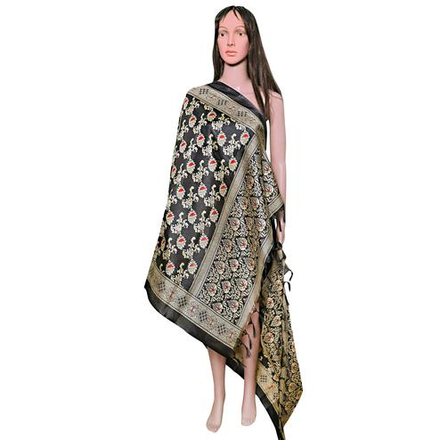 Gorgeous Black Colored Festive Wear Printed Khadi Silk Dupatta