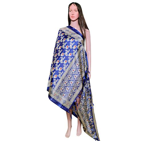 Blissful Blue Colored Festive Wear Printed Khadi Silk Dupatta