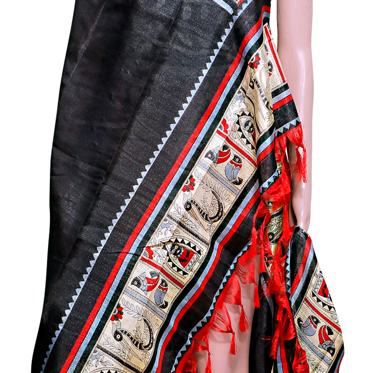 Ideal Black Colored Festive Wear Printed Khadi Silk Dupatta