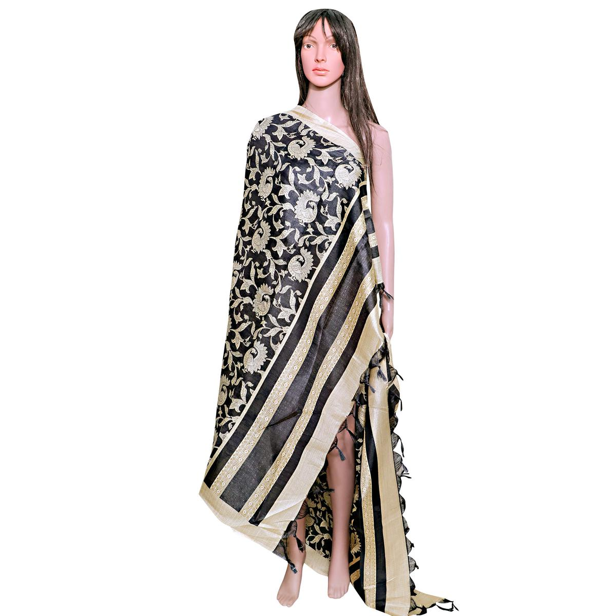 Imposing Black Colored Festive Wear Printed Khadi Silk Dupatta