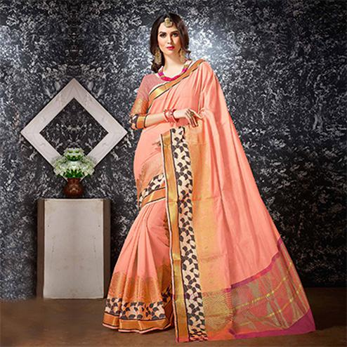 Peach Festive Wear Cotton Silk Saree